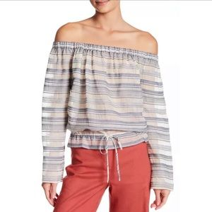 Theory Odettah Vall Stripe Off Shoulder Top XS NWT